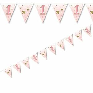 1ST FIRST BIRTHDAY ONE LITTLE STAR TWINKLE FLAG PAPER BUNTING DECORATION 12FT