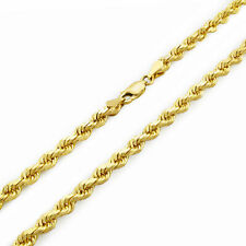 """14k Yellow Gold 4mm Women Diamond Cut Rope Chain Link Necklace Lobster Clasp 20"""""""