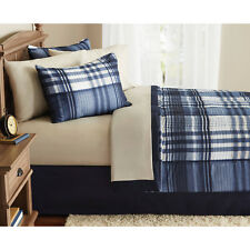 Indigo Plaid All Size Comforter Set Bedding Bedspread Bed In a Bag With Sheets