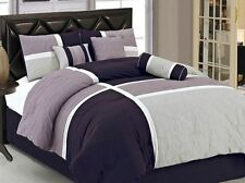 New Luxury 7-Piece Queen Size Quilted Bed In A Bag Comforter Set Bedding Purple