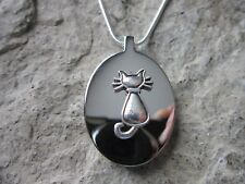 STAINLESS STEEL KITTY CAT URN NECKLACE - MOURNING, ASHES, HAIR, MEMORIAL, FUR