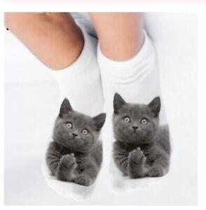 Calzini Donna Gatto Carino Kitty Calze con Orecchie 6 colori opzioni UK venditore GRATIS P/&P