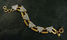 "NWT J. CREW CRYSTAL TRIANGLE LINK BRACELET RHODIUM & GOLD PLATED 7""L x 1/2"""