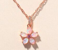 Pink Fire Opal Pink Topaz Rose Gold Flower Pendant Necklace