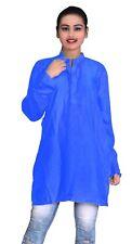 Indian Women's 100% Cotton Top Tunic Party Wear Nice Kurti Royal Blue Plus Size