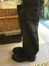 Over knee high Leather black boots size 3 36 chunky flats light wear 🖤