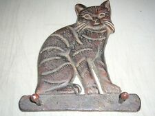 "VINTAGE CAST IRON CAT 2-PEG WALL COAT HANGER 7.5"" x 6.5"""