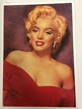 80s Postcard - Marilyn Monroe 1952 glamour with hoop earrings and red dress