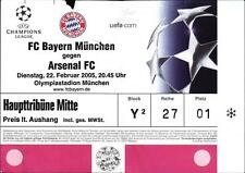 Ticket EC I 2004/2005 FC Bayern München-Arsenal London FC, 22.02.2005