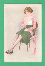 VINTAGE F. FABIANO ART POSTCARD BEAUTIFUL RISQUE LADY SITTING IN CHAIR