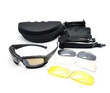 X7 Military Tactical Goggles Sunglasses Polarized Lenses Glasses 4 Lens Kit -UK