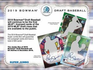 MILWAUKEE BREWERS 2019 BOWMAN DRAFT JUMBO SINGLE (1) BOX BREAK NOT CASE