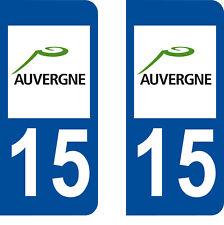 Département 15 sticker 2 autocollants style immatriculation AUTO PLAQUE