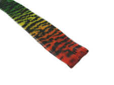 "CLIP-IN 12"" HAIR EXTENSION TRANSITIONAL ZEBRA TIGER RED YELLOW GREEN EMO SCENE"
