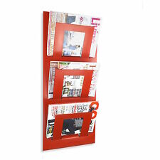 Designer Wall Mounted Magazine Newspaper Storage Rack Red - by The Metal House