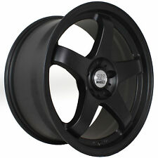 18 NS NSM01 +15 Flat Black Staggered Rims Wheels Stance Fits 98 Nissan 240sx S14