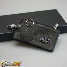 AUDI Key Bag Holder 100% Genuine Cow Leather Remote Cover Fob Case Ring Chain