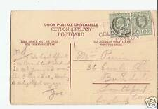 Ceylon 1905 PCard 3c Pair Cancelled Galle Face Hotel hs