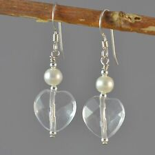 Sterling Silver Natural Clear Quartz Faceted Heart  Dangle Earrings