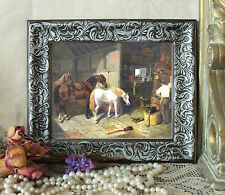 Herring Blacksmith Shop Horse Print Antique Style Framed 11X13 Farrier