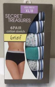 Secret Treasures 6-Pair Women's Brief Underwear Panties Cotton Sz XL / 8  (C53)