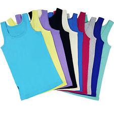 Womens Vest Tank Top 100% Cotton Ladies Vest Plain T Shirt New Size 8 10 12 14
