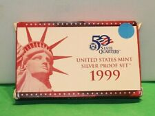 1999 S US Mint Silver Proof Set with Box/COA - US Coins 9 Coin Set