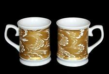 "2 Large ""Gold Marbled Paper"" Gold & White Swirl Heavy Stoneware Tankard Mugs NWT"