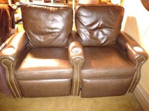 Cinematech Lone Star home theater seats, Pair, Brown leather, recliner, 60% off