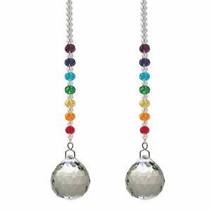 (LOT OF 2) Chakra Crystal Ball Rainbow Suncatcher Ornament FengShui Window Decor