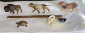 5 Antique Celluloid Animal Lot - Buffalo, Pointer Dog, St. Bernard, Swan