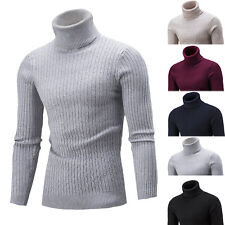 █ █ Fashion Mens Knitted Polo Roll Turtle Neck Pullover Sweater Jumper Tops