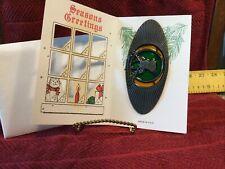 """Vintage John Deere Oval """"Deer Stag� Sun Catcher - Nip - In Merry Christmas Card"""