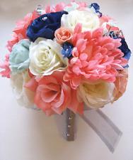 17 pc Wedding Bouquet Bridal Silk flowers CORAL MINT NAVY BLUE SILVER decoration