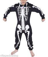 Kids Unisex Girls Boys Halloween One Piece Costume Skeleton Jumpsuit 7-13 Years