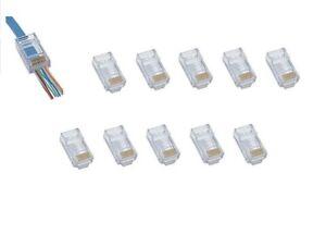 10 RJ45 CAT6 - Crimp Cable Connectors End pass through Ethernet modular Plug EZ