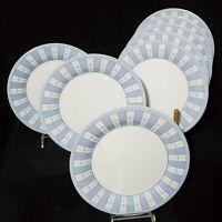 MARTHA STEWART (8) Dinner Plates GARDEN TRELLIS Blue White glass France MINTY!