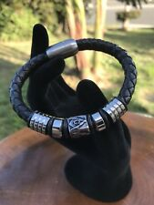 Mens Handmade MasonVintage Black Leather Stainless Steel Magnetic Clasp Bracelet