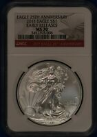 2011 American Silver Eagle. NGC MS70.  ET1635A/RH