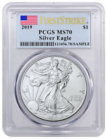 2019 1 oz American Silver Eagle $1 PCGS MS70 FS Flag Label SKU55800