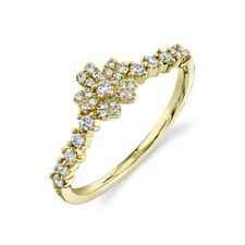 14K Yellow Gold Diamond Flower Ring Womens Statement Right Hand Cocktail 0.24Ct