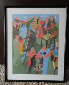 1981 JACOB LAWRENCE LITHO PRINT SEATTLE ARTS & CRAFTS FAIR FRAMED folklife