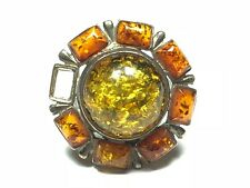 HUGE Vintage Ladies Sterling Silver Amber Cluster Ring - Size 7 - FREE SHIPPING