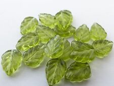 10MM OLIVINE GREEN CZECH GLASS LEAF BEADS FOR JEWELLERY MAKING - Z038 (30PCS)