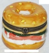 BAGEL-Porcelain Hinged-Box..with CREAM CHEESE & SMOKED SALMON-YUM!