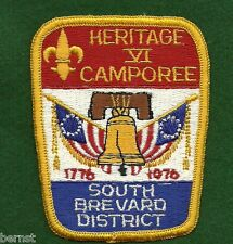 BOY SCOUT PATCH 1976 HERITAGE VI CAMPOREE S BREVARD DISTRICT - FREE SHIPPING  XX