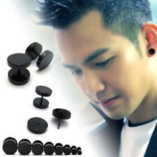 1Pcs Cool Punk Black Stainless Steel Ear Stud Men Women Piercing Earrings