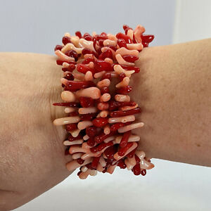Hand-made coral chip bracelet on memory wire