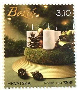 Christmas mnh stamp 2014 Croatia #932 candles pine cone