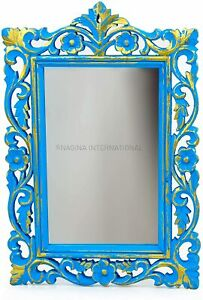 Rustic Vintage Golden Black White Blue Plane Wall Mounted Mirror, Ancient Finish
